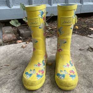 Joules yellow floral rain boots size 1